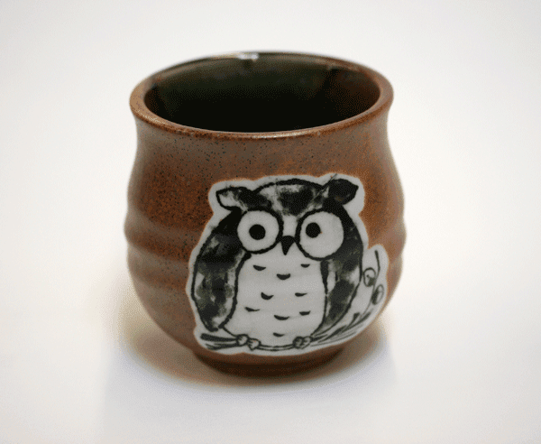 Brown Oribe Owl Sushi Tea Cup, 8 oz.