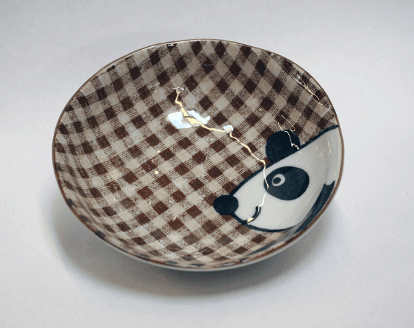 Brown Plaid Panda Shallow Fruit/Snack Bowl