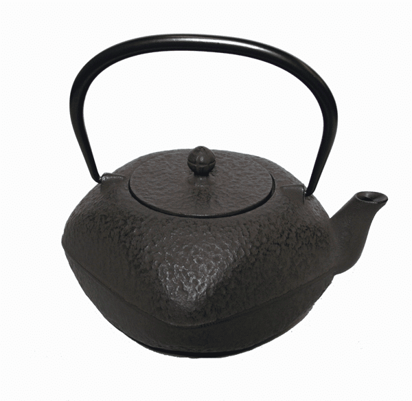 Brown Square Cast Iron Teapot with Rounded Edges, 32 oz.