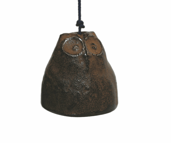 Cast Iron Antique Brown Color Owl<br> Wind Chime