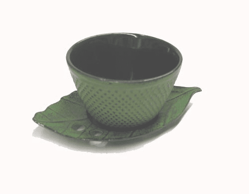 Cast Iron Green Hobnail Arare Tea Cup with Cast Iron Leaf Coaster