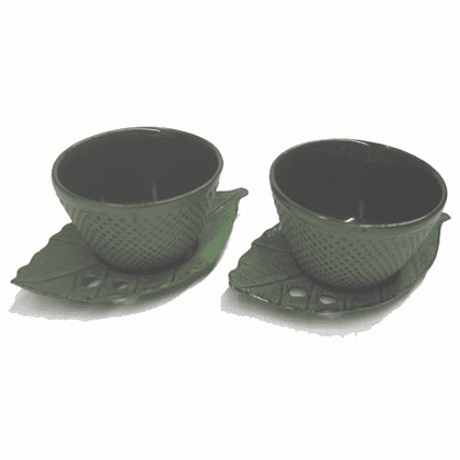 Cast Iron Green Hobnail Tea Cups <br>and Leaf Coasters