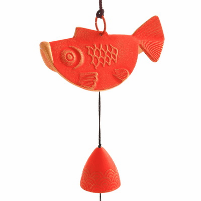 Cast Iron Red & Gold Goldfish Wind Chime
