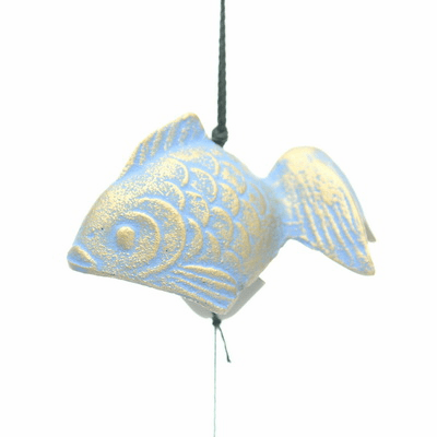 Cast Iron Wind Chime Gold and Blue  <br>Goldfish