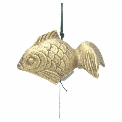 Cast Iron Wind Chime Gold Goldfish