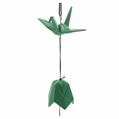 Cast Iron Wind Chime Green Peace Crane