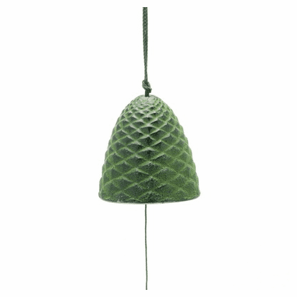Cast Iron Wind Chime Green Pine Cone