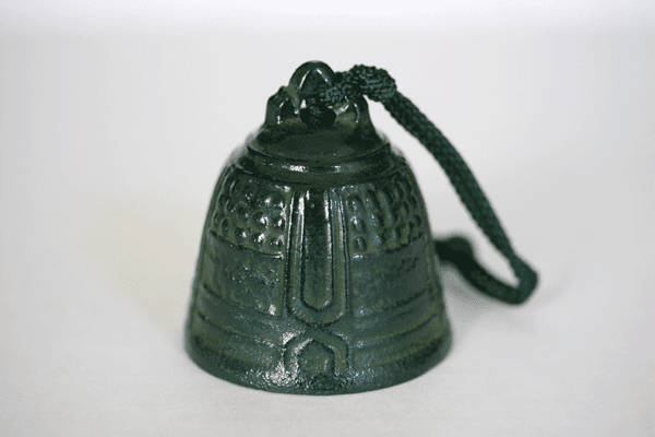 Cast Iron Wind Chime,  Patina Green  <br>Temple Bell