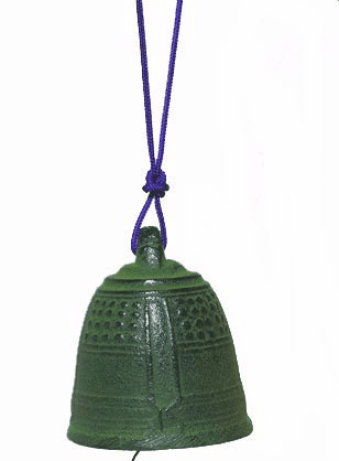 Cast Iron Wind Chime Patina Green  <br>Temple Bell