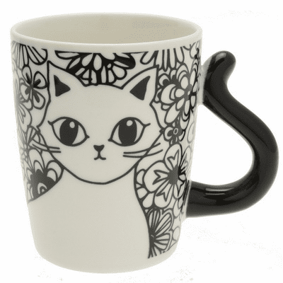 Cat's Tail Floral Black Mug