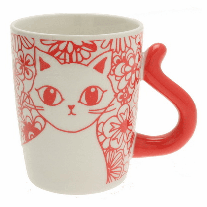 Cat's Tail Floral Red Mug
