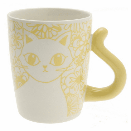 Cat's Tail Floral Yellow Mug