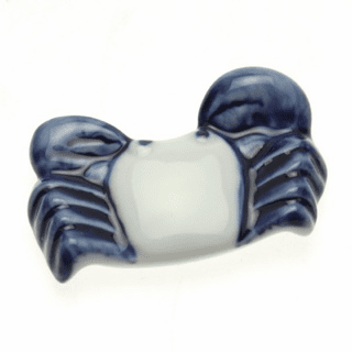 Ceramic Chopstick Rest Blue & White Crab