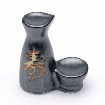 Ceramic Chopstick Rest Iron Black<br> Kotobuki Sake Container and Cup Set