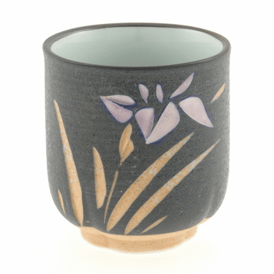 Ceramic Engraved Blue & <br>Purple Iris Tea Cup 10 oz.