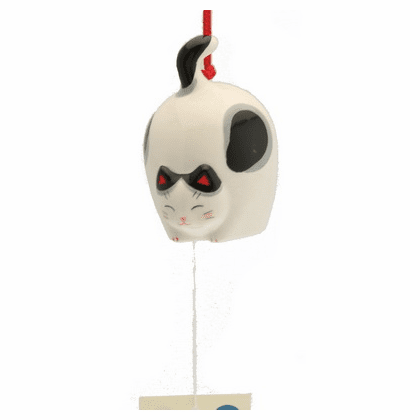 Ceramic Flying Blank and White Cat  <br>Wind Chime
