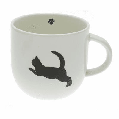 Ceramic Jumping Cat Silhouette Mug