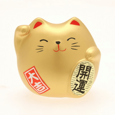 "Ceramic ""Maneki Neko Kai-un"" Gold <br>Fortune Lucky Cat Charm"