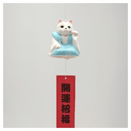 Ceramic Samurai Kitty Wind Chime