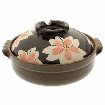 "Cherry Blossom/Sakura Donabe <br>Japanese Hot Pot 9-3/4"" <br>Made in Japan"