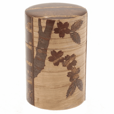 Cherry Wood Cherry Blossom Canister, Holds 120 Grams