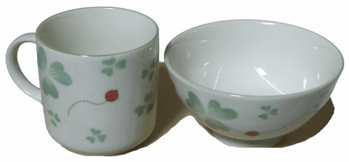 Clover and Lady Bug Ceramic Tea Cup and Rice Bowl Set