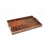 Coated Plastic & Cherry Bark Wooden Trays