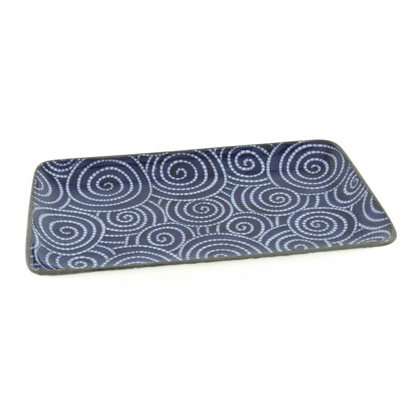 Cobalt cloud swirls rectangular plate