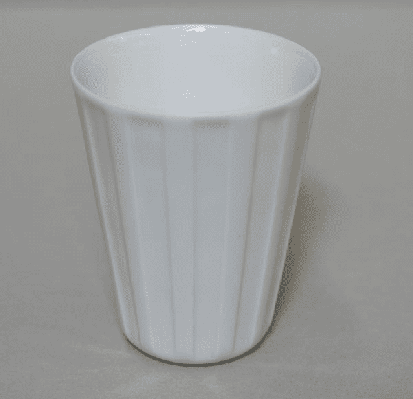 Conical Elongated Vertical Lines White Porcelain Cup, 8 oz.