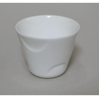 Conical Parcial Poca Dot White <br>Porcelain Tea Cup, 6 oz.
