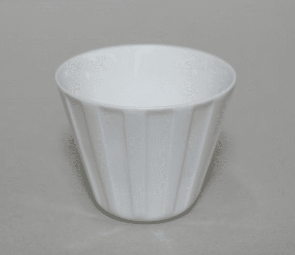 Conical Vertical Lines White Porcelain Cup, 6 oz.