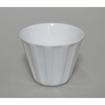 Conical Vertical Lines White <br>Porcelain Cup, 6 oz.
