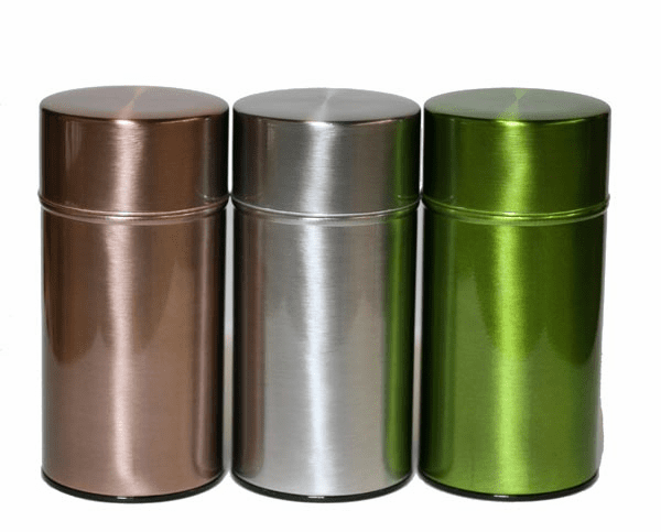 Copper, Silver or Green Tea Canisters, 200 Grams