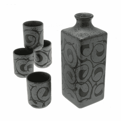 Crystal Black Swirls Sake Container &  <br>4 Cups Set