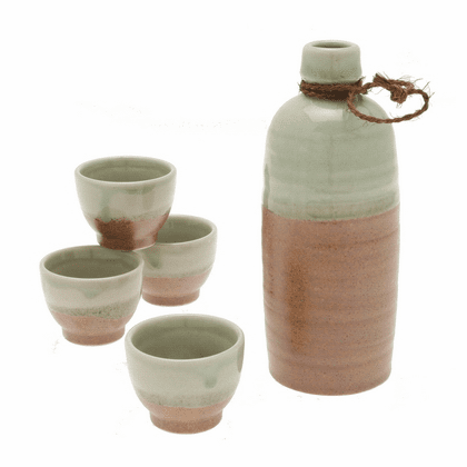 Crystal Jade Sand Sake Container & 4 Cups Set