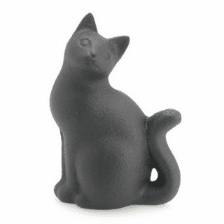 Curled Tail Black Cat Cast Iron Papaerweight