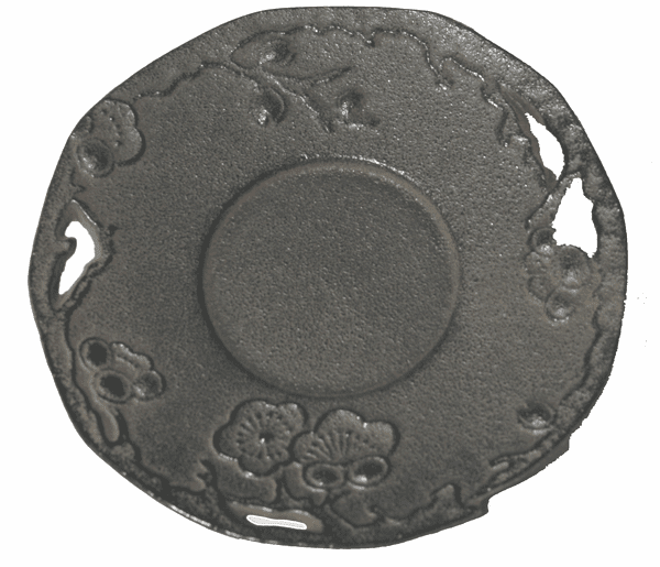 Dark  Brown Cherry Blossom Cast Iron Coaster, 4-3/8""