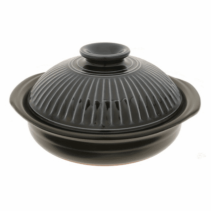 "Donabe/Japanese Hot Pot/Casserole<br> Black Lapis 10"" & 11-3/8"" <br>Made in Japan"