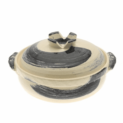 "Donabe/Japanese Hot Pot/Casserole <br>Cobalt Swirl 9-3/4"" & 10-3/4"" <br>Made in Japan"
