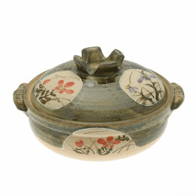 "Donabe/Japanese Hot Pot/Casserole <br>Garden Floral 9-3/4"" & 10-3/4"" <br>Made in Japan"