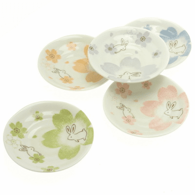 Dream Sakura Rabbits Dish Set 4-3/4""