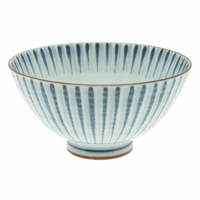 Duo Tone Brushed Lines<br> Ceramic Rice Bowl