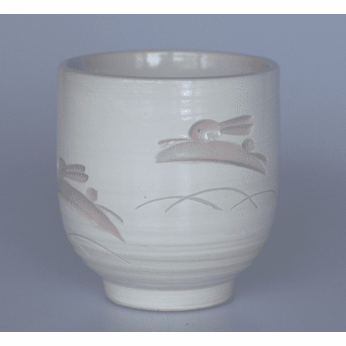 Engraved White and Pink Rabbits Tea Cup, 9 oz.
