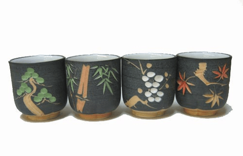 Etched Porcelain Sushi Tea Cups