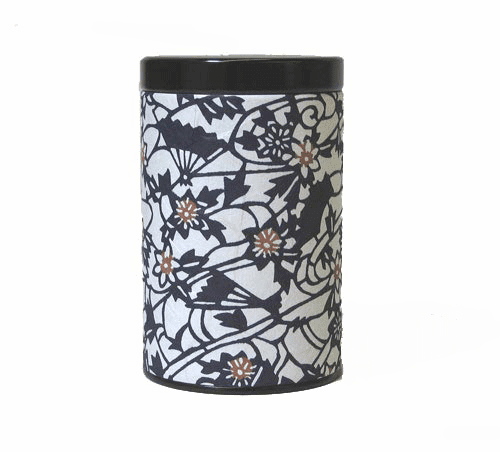 Fan Pattern Tea Canister,   <br>Holds 100 Grams