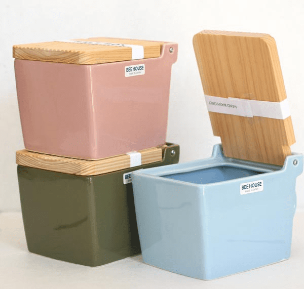 Featured Colors Salt Box/Salt Keeper<br> with Wooden Lid, 16 oz.