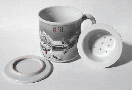 """Fifty Three Stages of the <i>Tokaido</i>""   <br>Mug with Lid & Infusion Strainer, 10 oz"