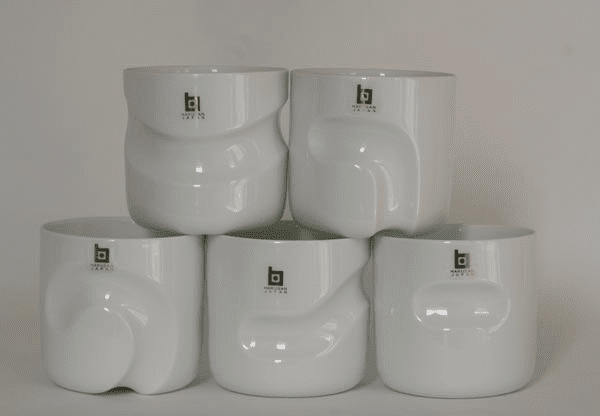 Five Different White Hakusan Porcelain Cups, Designed by Masahiro Mori