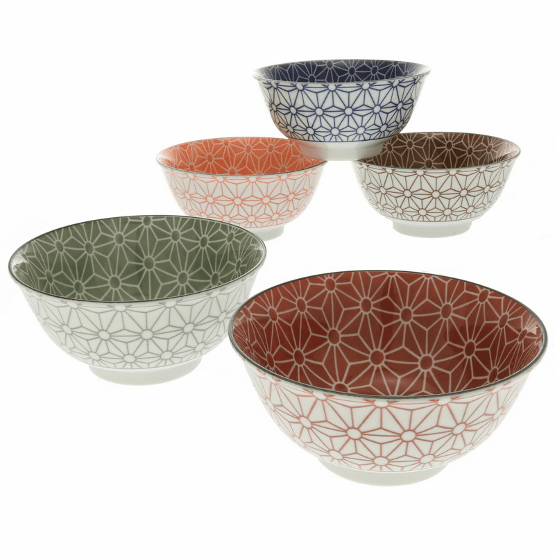 Five Multicolor Hemp Leaf Bowls Set
