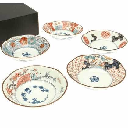 Five Somenishiki Ko-Imari Shallow Bowls Set